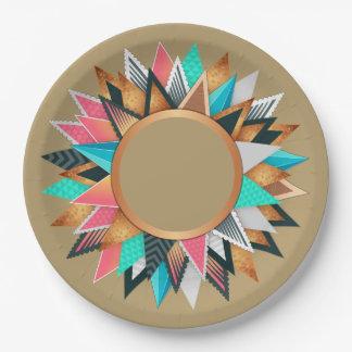 Prato De Papel Teste padrão geométrico mexicano asteca de Tan do