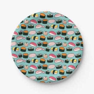 Prato De Papel Teste padrão ilustrado do partido do sushi