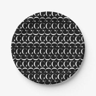 Prato De Papel Teste padrão inicial do monograma, letra G no