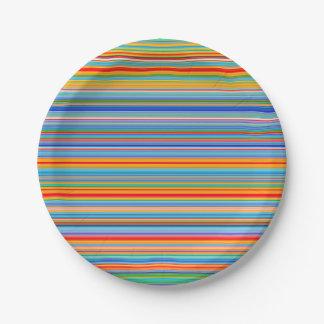 Prato De Papel Teste padrão listrado multicolorido