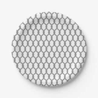 Prato De Papel Teste padrão náutico preto e branco da corda