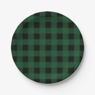 Prato De Papel Teste padrão preto verde do verificador do búfalo