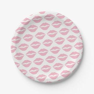 Prato De Papel Teste padrão rosa pálido do batom