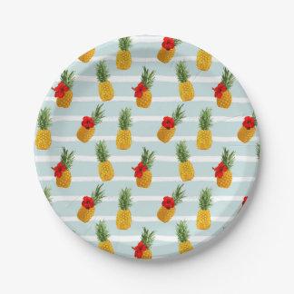 Prato De Papel Teste padrão sem emenda do abacaxi havaiano do