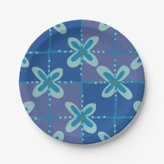 Prato De Papel Teste padrão sem emenda do batik floral azul da