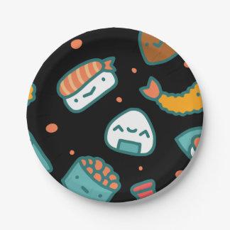 Prato De Papel Teste padrão sem emenda feliz bonito do sushi no