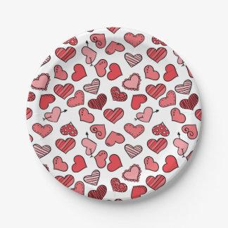 Prato De Papel Teste padrão simples de vibração dos corações dos