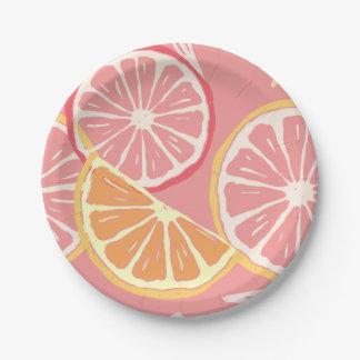 Prato De Papel Teste padrão tropical da toranja cor-de-rosa e do
