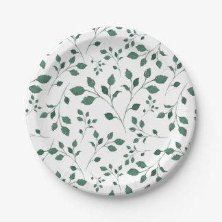 Prato De Papel Teste padrão verde rústico da folha da aguarela