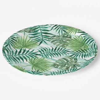 Prato De Papel Teste padrão verde tropical chique retro das
