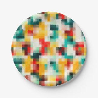 Prato De Papel Teste padrão vermelho do abstrato do branco do