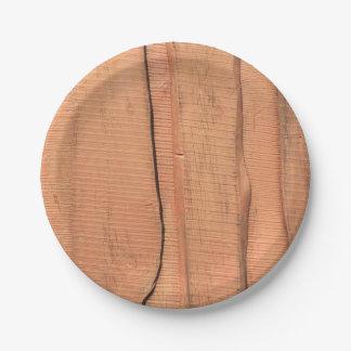 Prato De Papel Textura de madeira