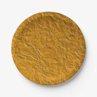 Prato De Papel Textura dourada