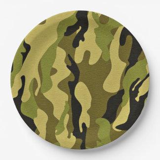 Prato De Papel Textura verde do exército da camuflagem