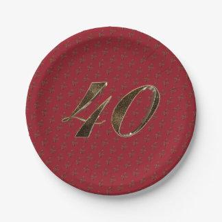 Prato De Papel Tipografia do ouro do rubi do aniversário do