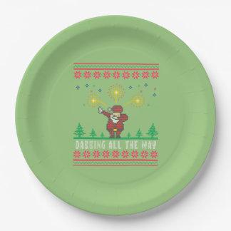 Prato De Papel Tocando todo o Natal feio do papai noel da maneira
