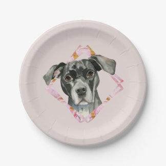 """Prato De Papel """"Todas as orelhas"""" pintura da aguarela do cão de 2"""