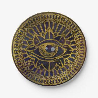 Prato De Papel Todo o ouro místico de vista do olho no céu da