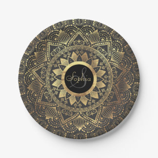 Prato De Papel Trabalhos de arte elegantes da mandala do ouro