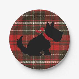 Prato De Papel Tradicional bonito do cão vermelho de Scotty do
