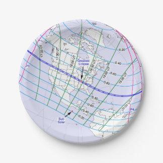 Prato De Papel Trajeto global do eclipse solar 2017 totais