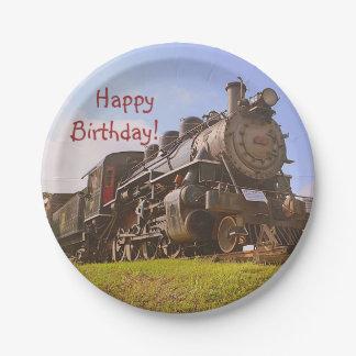 Prato De Papel Trem do vapor do vintage do aniversário