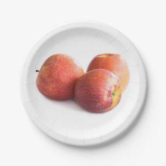 Prato De Papel Três maçãs vermelhas