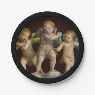 Prato De Papel Três querubins ou anjos pequenos
