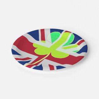 Prato De Papel Trevo britânico irlandês St Patrick Reino Unido do