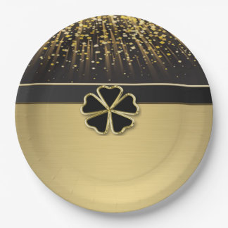 Prato De Papel Trevo irlandês elegante elegante, confete do ouro