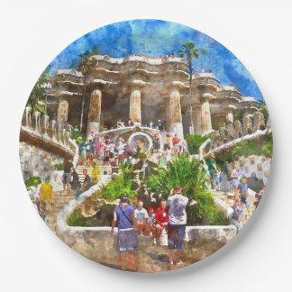 Prato De Papel Turistas em Parc Guell na espanha de Barcelona