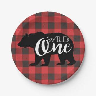 Prato De Papel Um aniversário selvagem da flanela do urso  