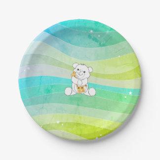Prato De Papel Urso adorável que abraça listras da aguarela do