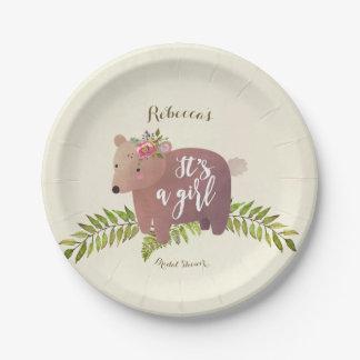 Prato De Papel urso da floresta do chá de fraldas é uma placa de