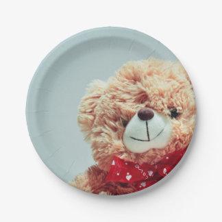 Prato De Papel Urso de ursinho com um arco vermelho