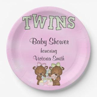 Prato De Papel Urso de ursinho gêmeo das meninas do chá de