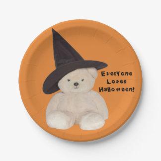 Prato De Papel Urso de ursinho que veste um chapéu preto da bruxa