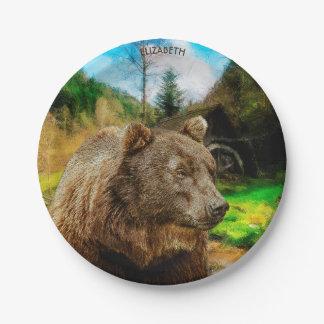 Prato De Papel Urso de urso grande e paisagem bonita das