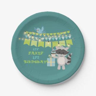 Prato De Papel Urso do aniversário com bolo do copo