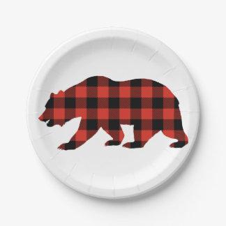 Prato De Papel Urso do Tartan
