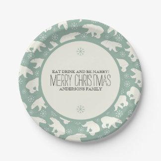 Prato De Papel Ursos polares & modelo do Natal dos flocos de neve