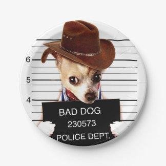 Prato De Papel vaqueiro da chihuahua - cão do xerife