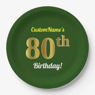 Prato De Papel Verde, aniversário do 80 do ouro do falso + Nome