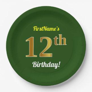Prato De Papel Verde, aniversário do ouro do falso 12o + Nome