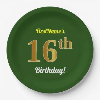 Prato De Papel Verde, aniversário do ouro do falso 16o + Nome