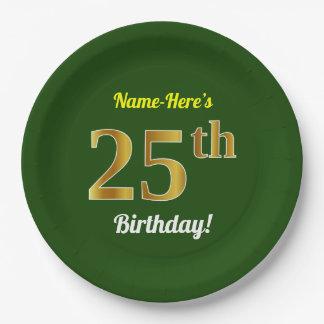 Prato De Papel Verde, aniversário do ouro do falso 25o + Nome