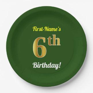 Prato De Papel Verde, aniversário do ouro do falso 6o + Nome