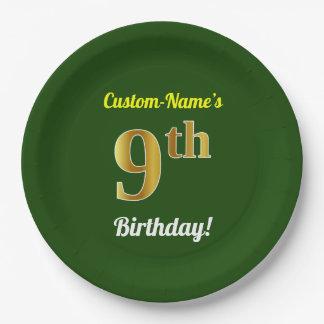 Prato De Papel Verde, aniversário do ouro do falso 9o + Nome