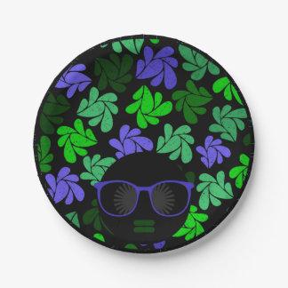 Prato De Papel Verde & azul da diva do Afro