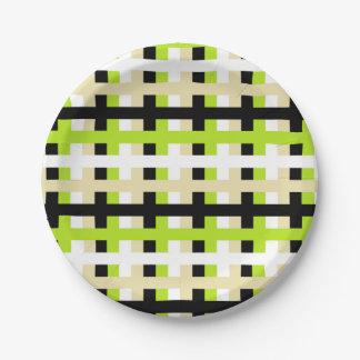 Prato De Papel Verde limão, branco, bege e preto abstratos